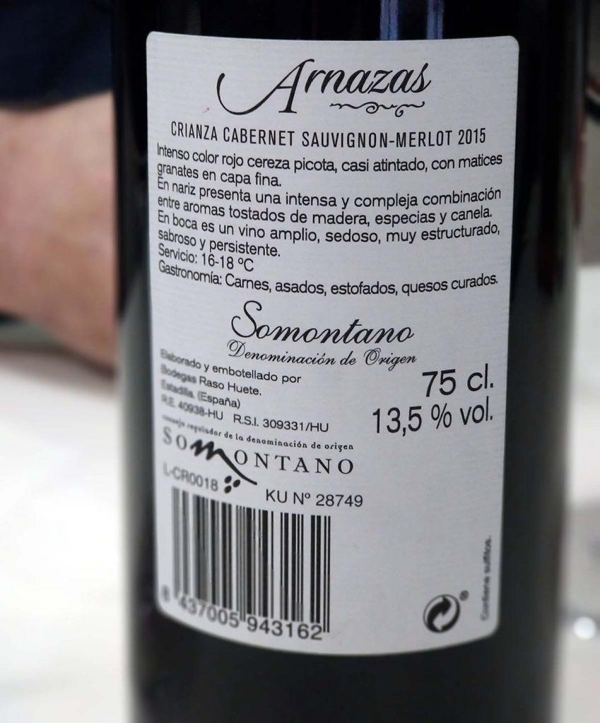 Vino Arnazas 2015 Somontano etiqueta trasera
