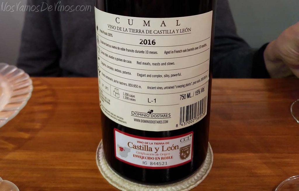 Cumal 2016 Dominio Dostares Prieto Picudo trasera