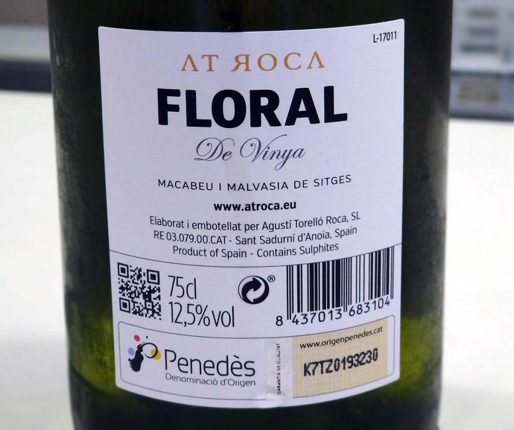 Floral de Vinya2017 AT Roca Penedès trasera
