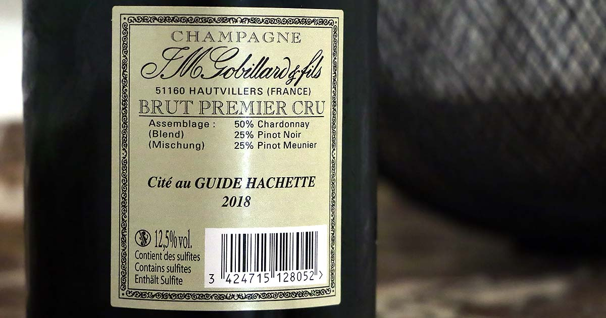 J M Gobillard et Fills Brut Premier Cru Champagne etiqueta trasera