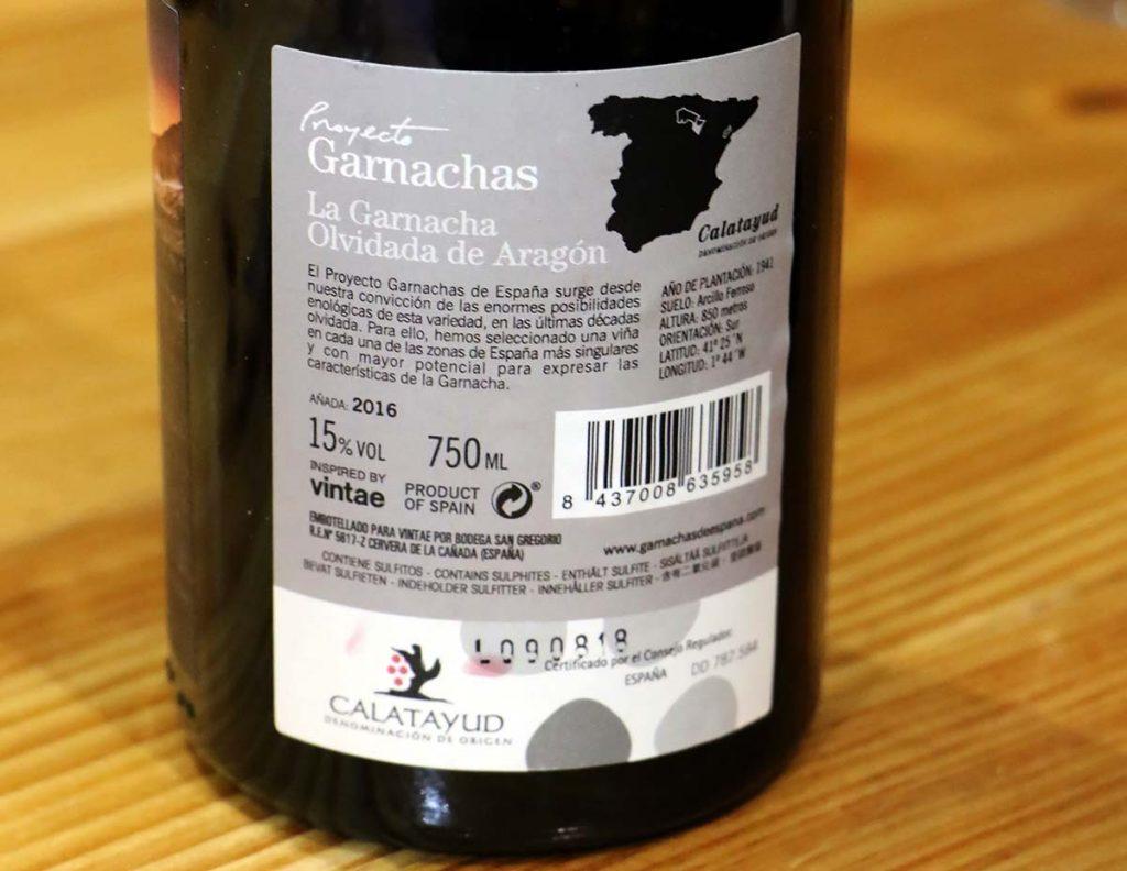 La Garnacha olvidada proyecto garnachas de espana etiqueta trasera