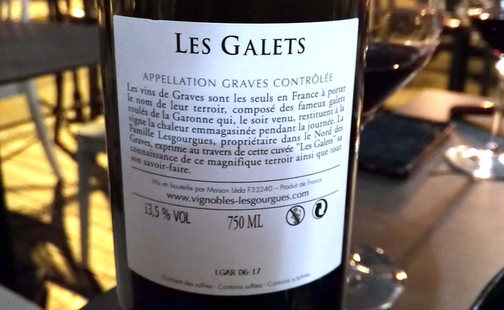 Les Galets Graves 2016 Bordeaux etiqueta trasera