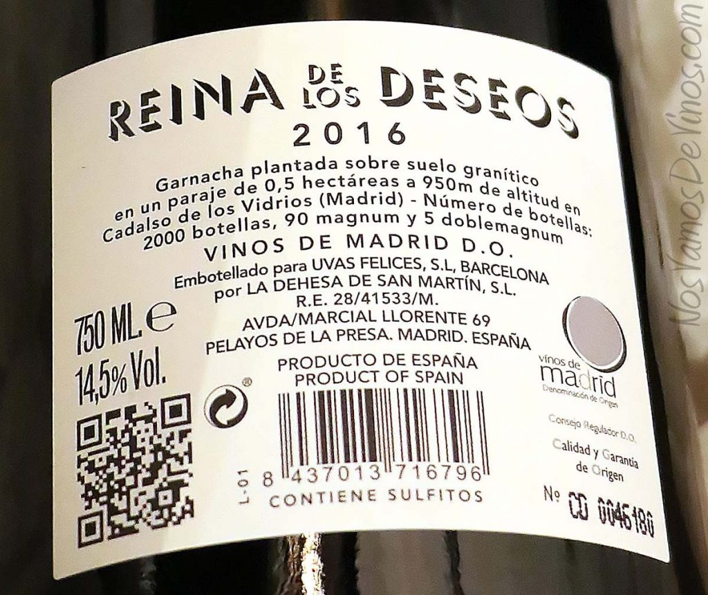 Reina de los Deseos 2016 Comado G Garnacha Gredos vino etiqueta trasera