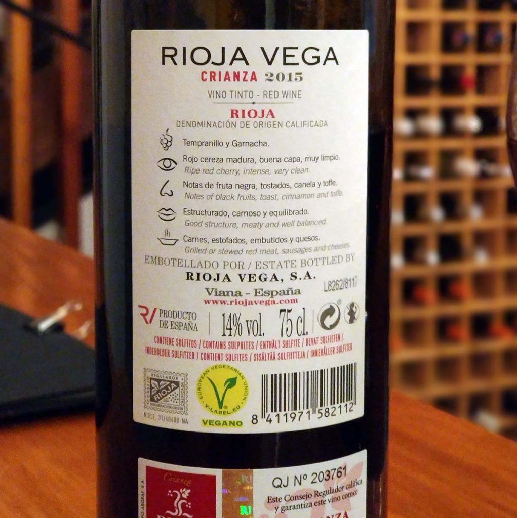 Rioja Vega Crianza 2015 Trasera