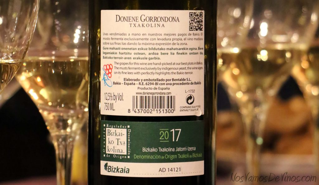 Doniene-2017-txakoli-Doniene- Gorrondona-etiqueta-trasera
