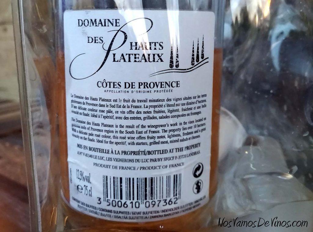 Domaine des Hauts Plateaux Côtes de Provence etiqueta trasera