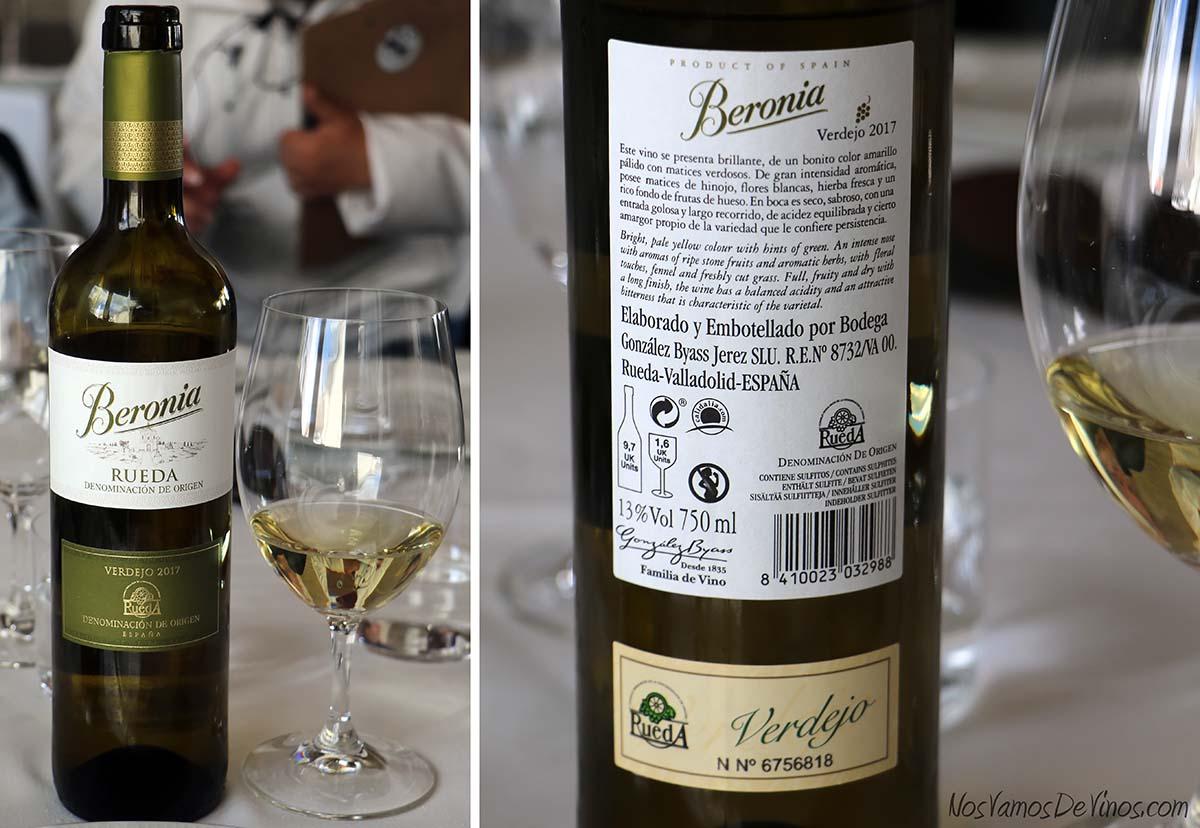 Beronia Verdejo 2017 un vino de Rueda