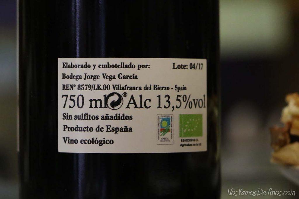Chira 450 Un vino natural del Bierzo etiqueta trasera