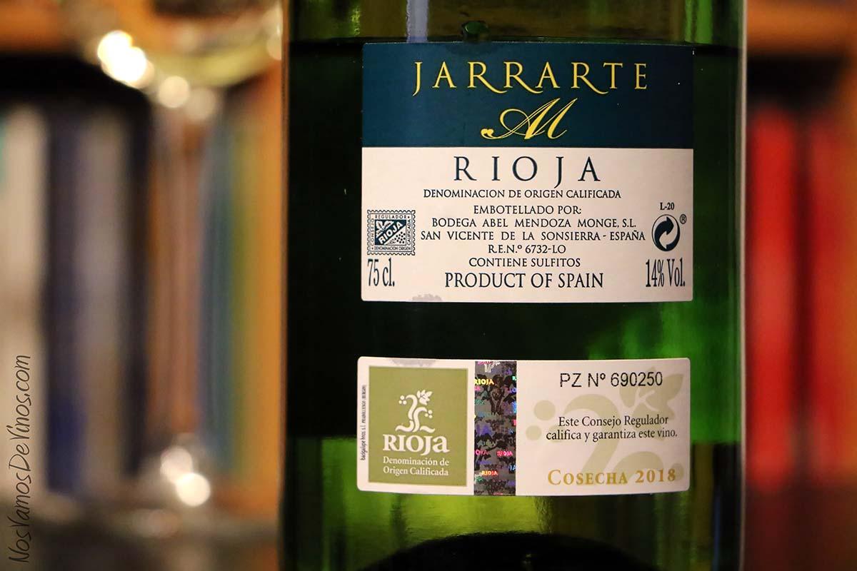 Jarrarte Blanco 2018 un vino de Abel Mendoza Etiqueta Trasera