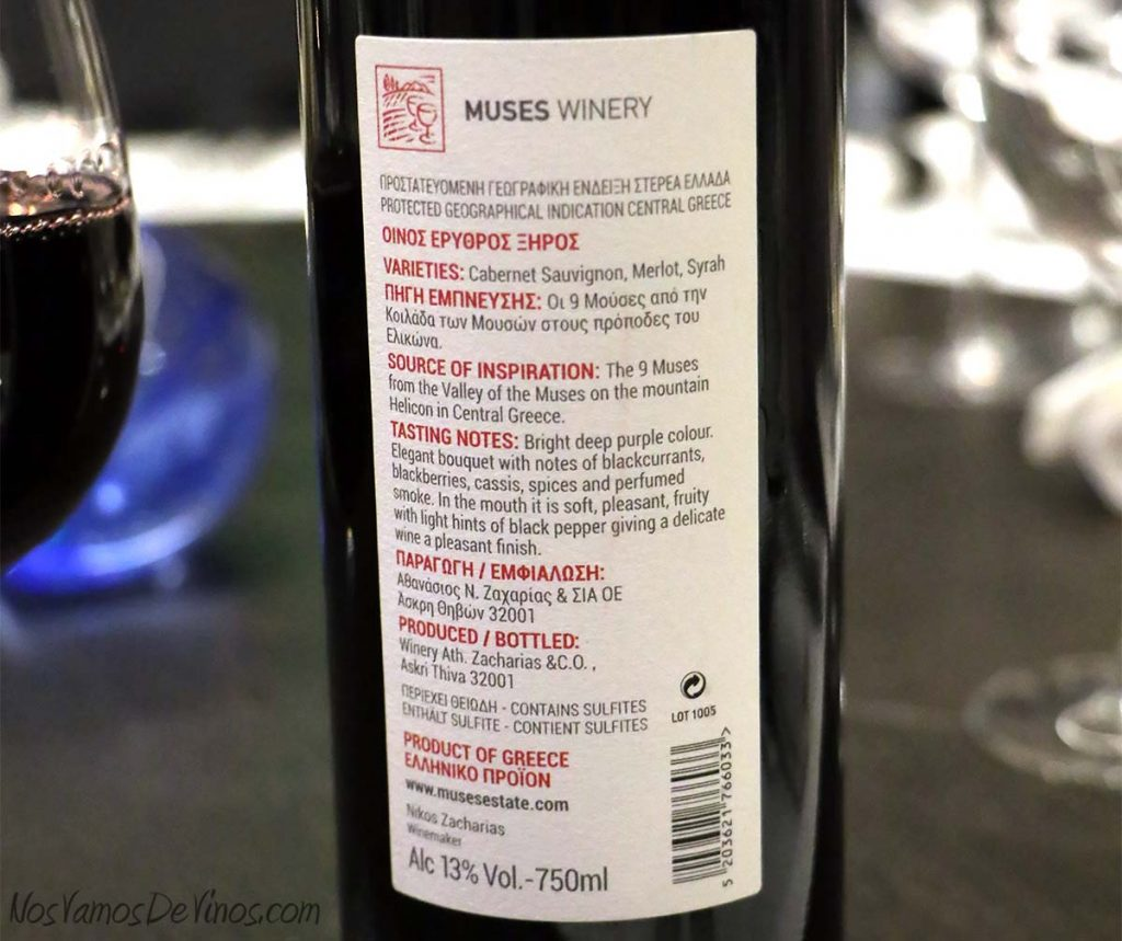 9 Red Blend Muses winery trasera