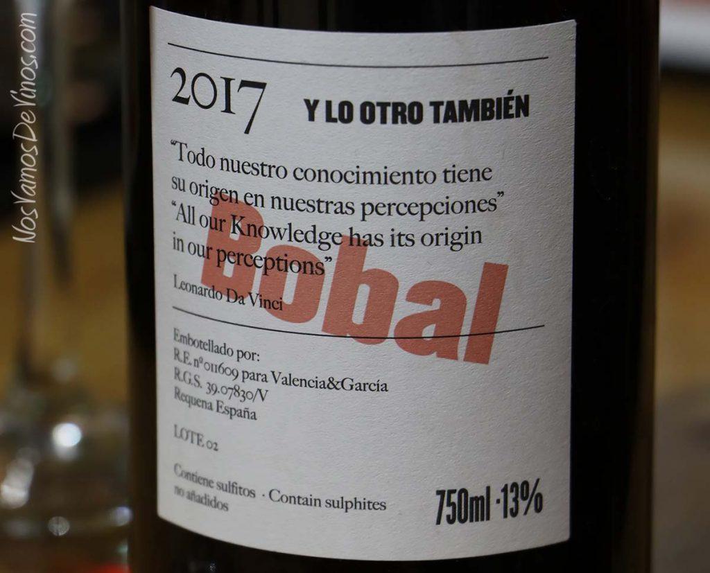 Y lo otro también Bobal 2017 etiqueta trasera