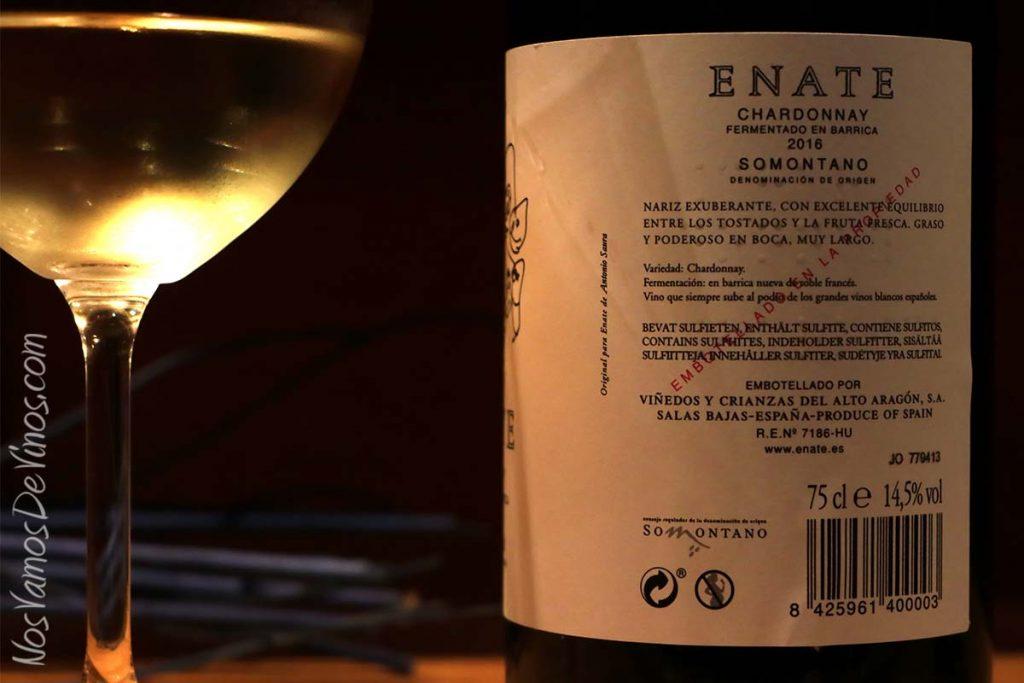 Enate Chardonnay Fermentado en Barrica 2016 Etiqueta Trasera