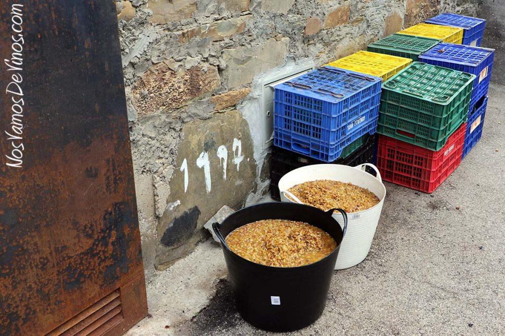 Pastas y cajas de vendimia a la puerta de la bodega Michelini i Mufatto & González, en Toral de Merayo