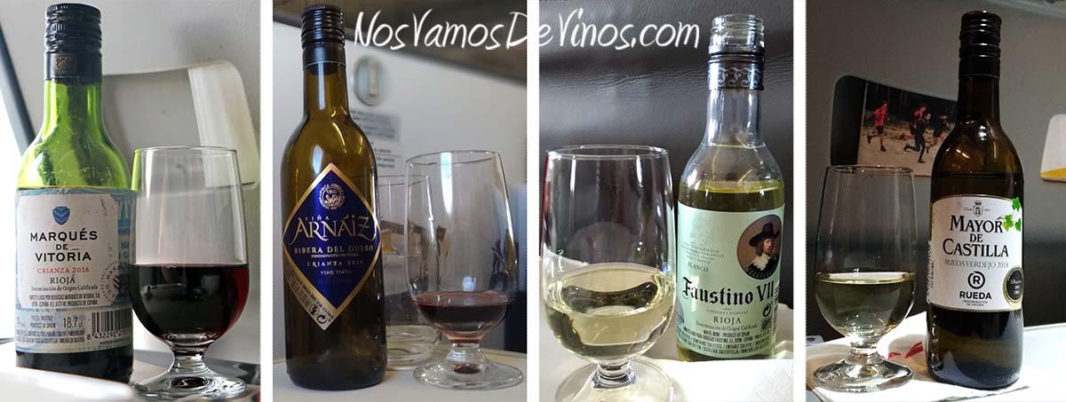 Vinos de avión de Iberia: Marqués de Vitoria Crianza 2016, Viña Arnáiz Crianza 2015, Faustino VII Blanco 2018 y Mayor de Castilla 2018