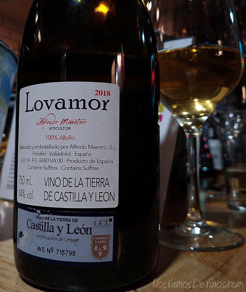 Lovamor 2018 un vino de Alfredo Maestro Etiqueta Trasera