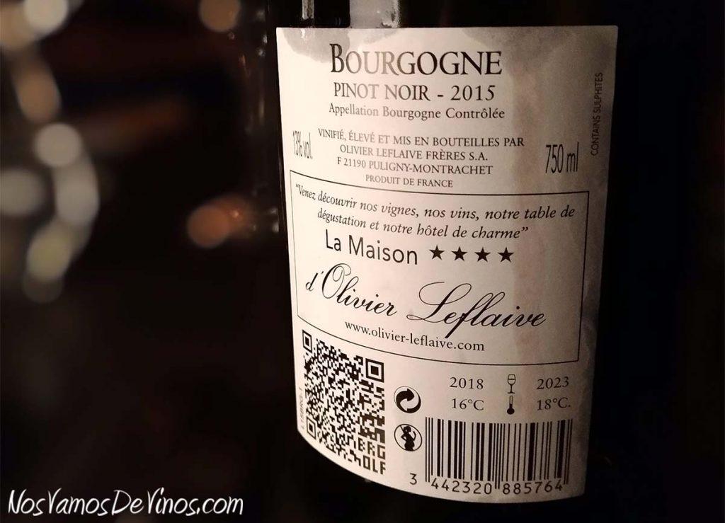 Olivier Leflaive Bourgogne Pinot Noir 2015 Etiqueta Trasera