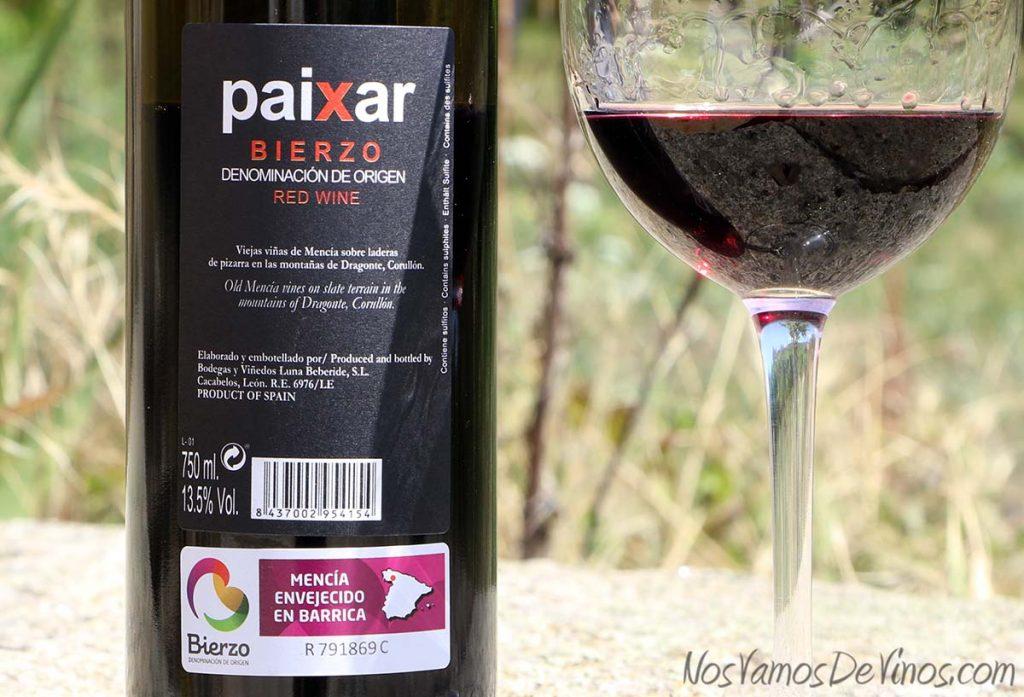 Paixar 2016 Un vino de Bodegas Luna Beberide Etiqueta Trasera