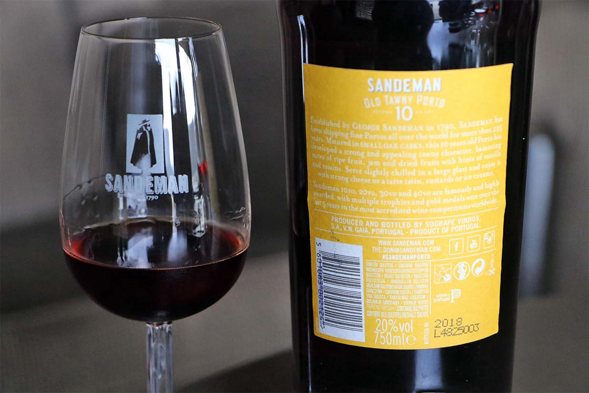 Sandeman Old Tawny Porto Rested 10 Years. Etiqueta trasera