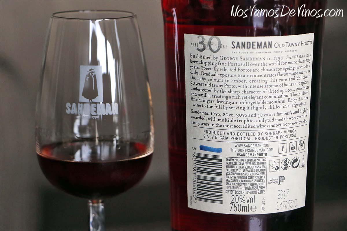 Sandeman Old Tawny Porto Aged 30 Years. Etiqueta trasera