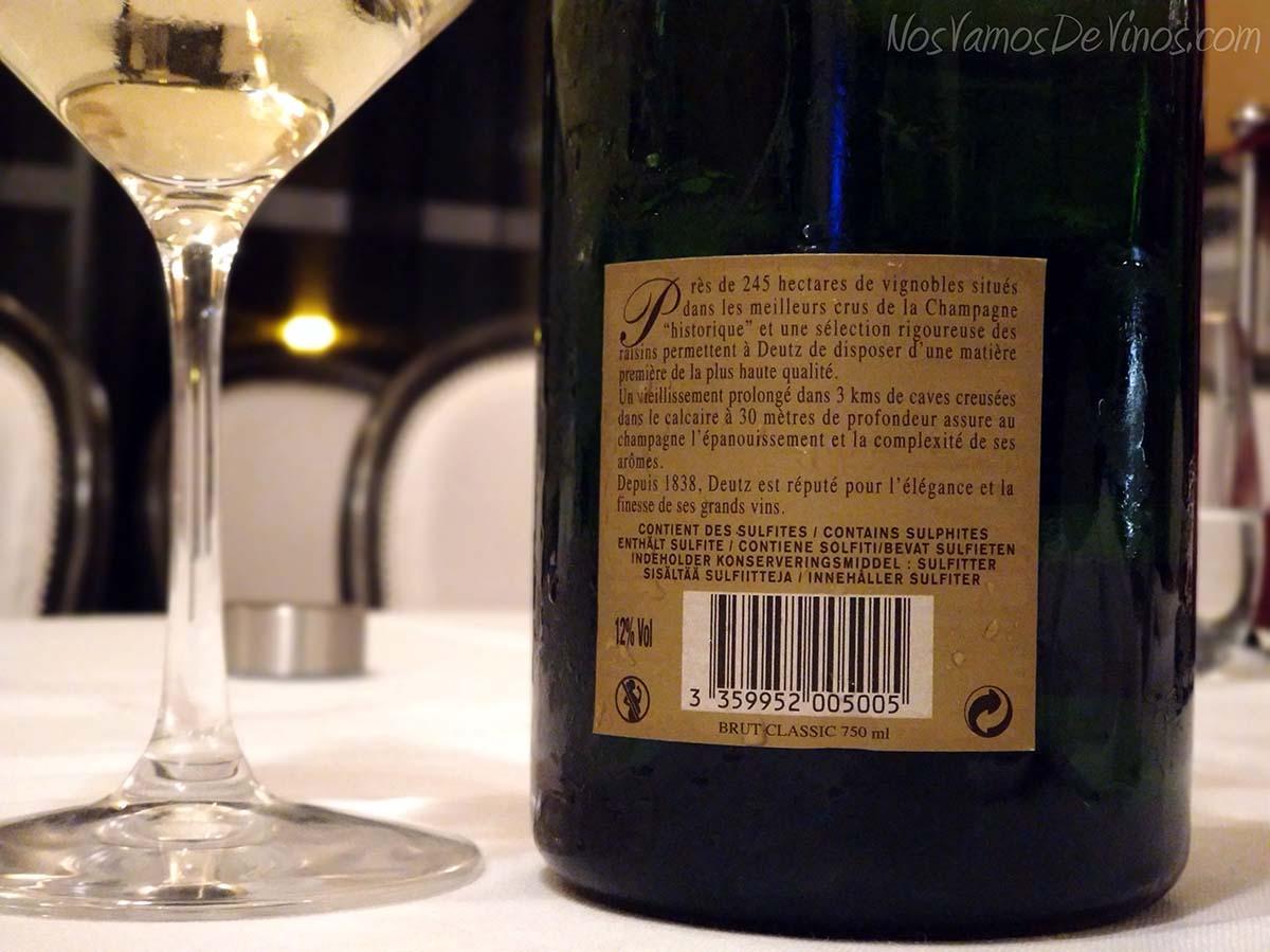 Champagne Deutz Brut Classic Etiqueta Trasera