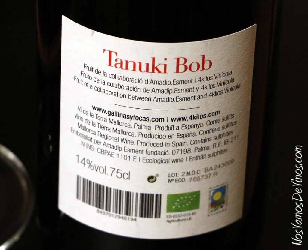 Tanuki Bob 2016 un vino de 4 Kilos Vinícola etiqueta trasera