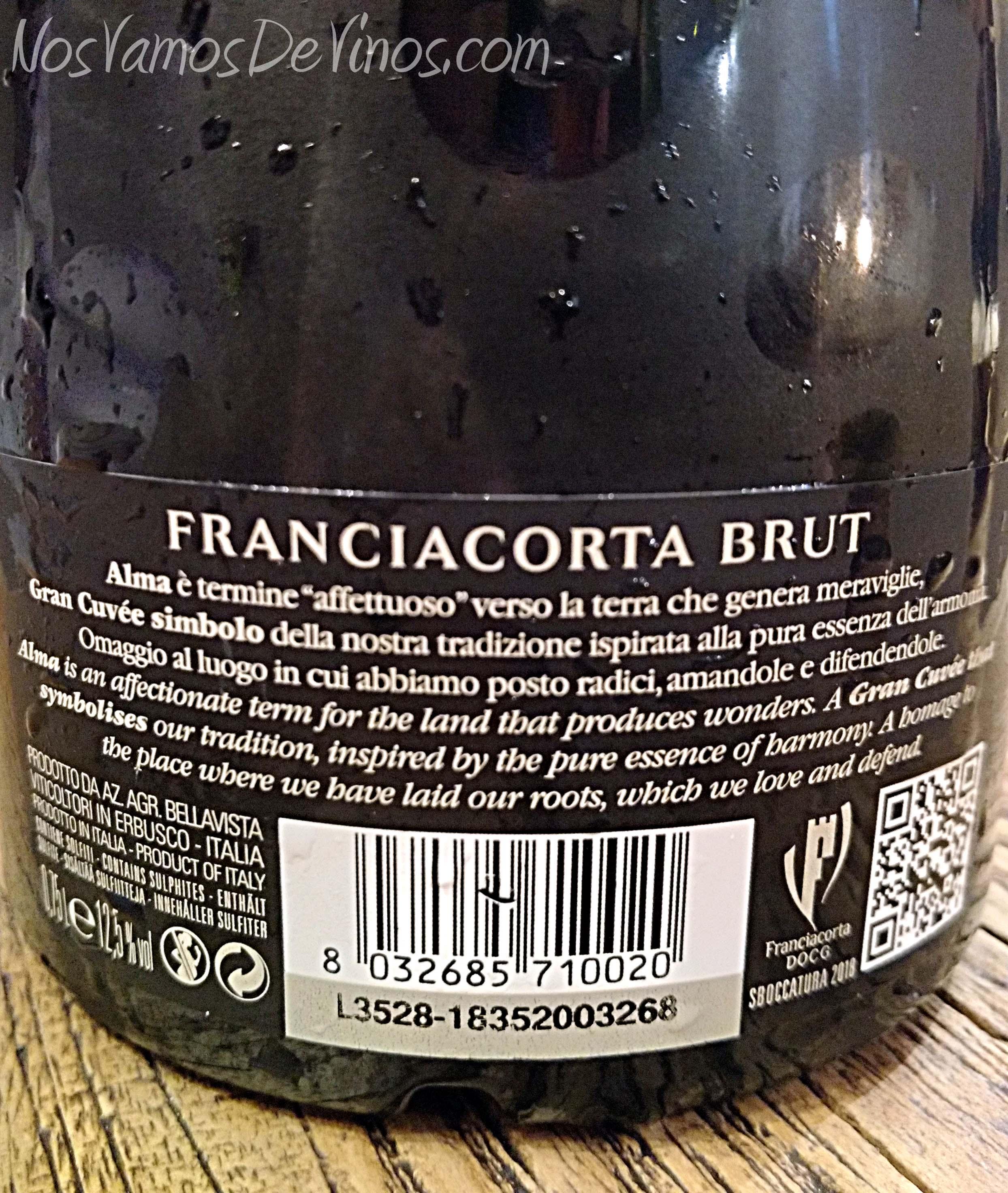 Bellavista Alma Grande Cuvée Brut Trasera