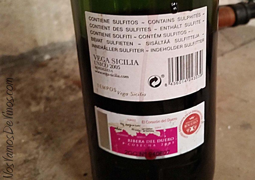 Vega Sicilia Único 2005 Trasera