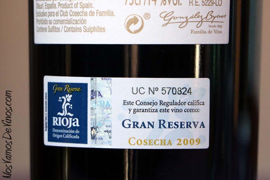 Beronia Cosecha de Familia Gran Reserva 2009 Tirilla D.O.