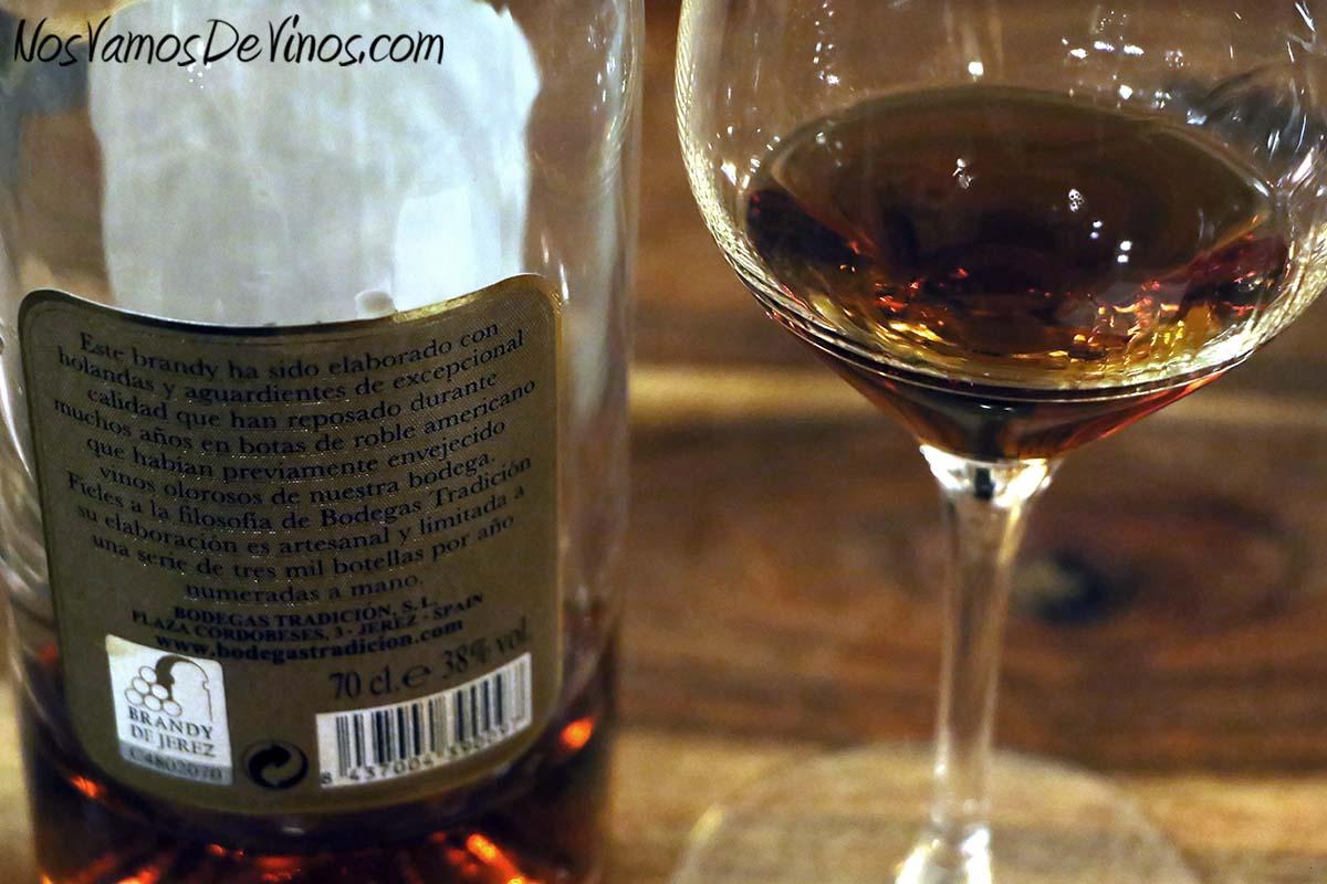 Brandy de Jerez Solera Gran Reserva Bodegas Tradición, etiqueta trasera