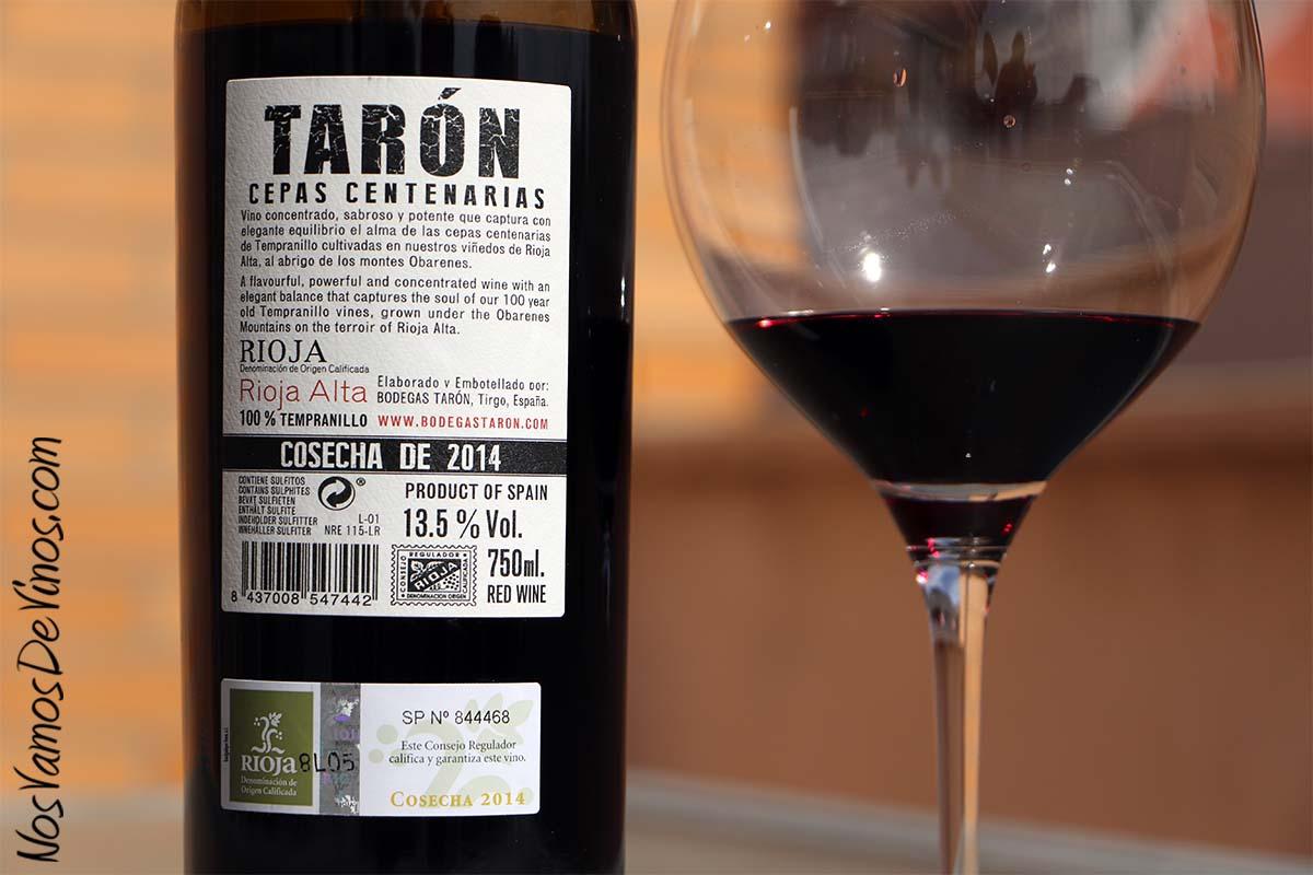 Tarón Cepas Centenarias 2014 Etiqueta Trasera