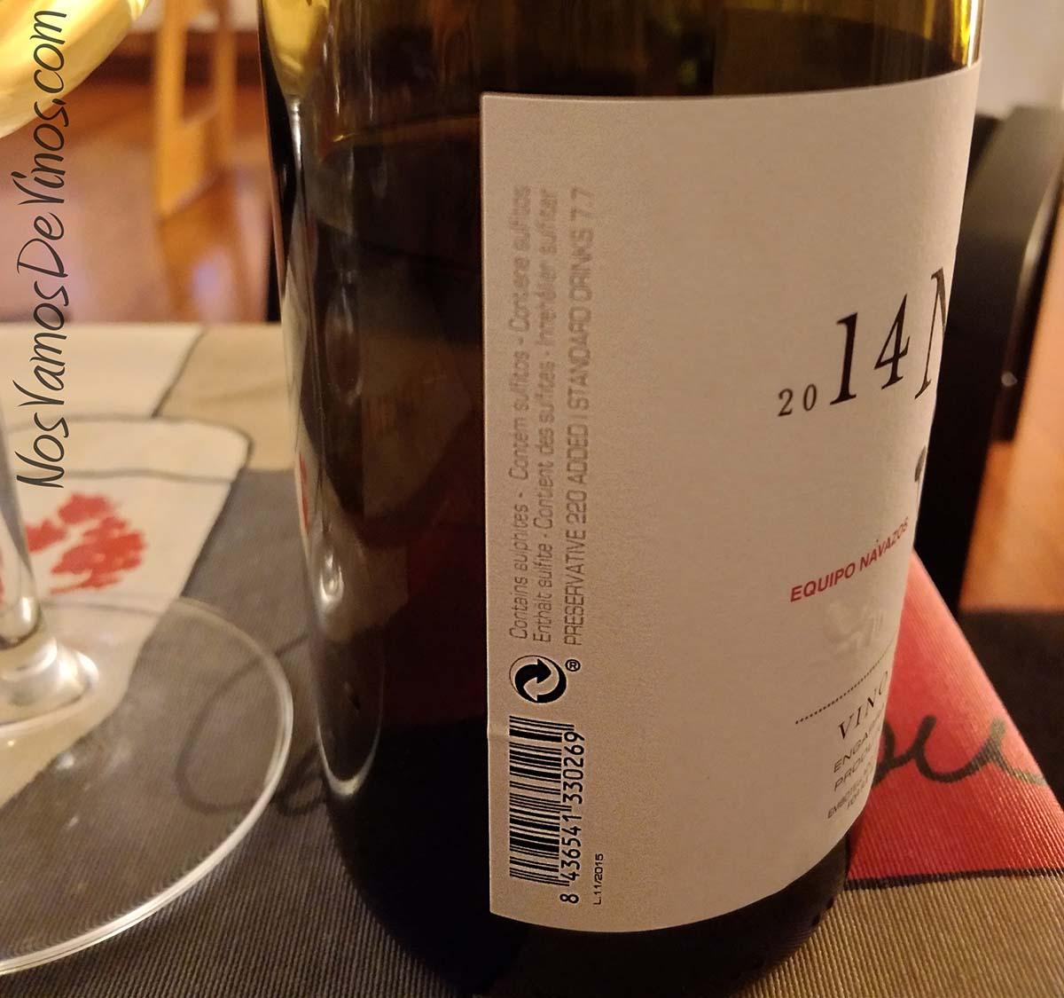 Navazos Niepoort 2014 Vino Blanco Etiqueta Lateral