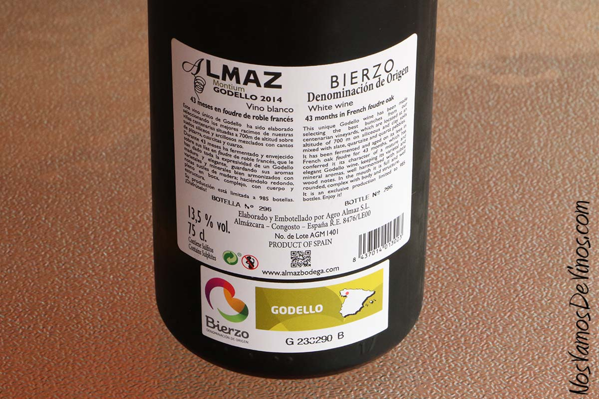 Almaz Godello 2014, etiqueta trasera