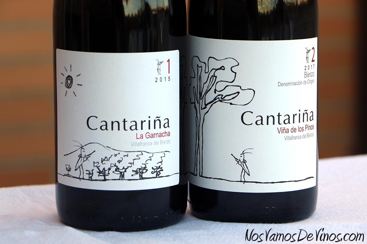 Cantariña 1 La Garnacha 2015 & Cantariña 2 Viña de Los Pinos 2017. Etiquetas.