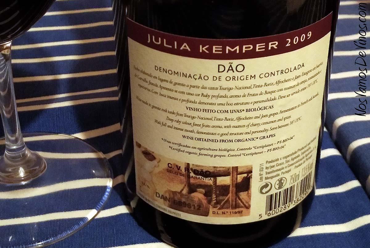 Julia Kemper Tinto 2009 Trasera