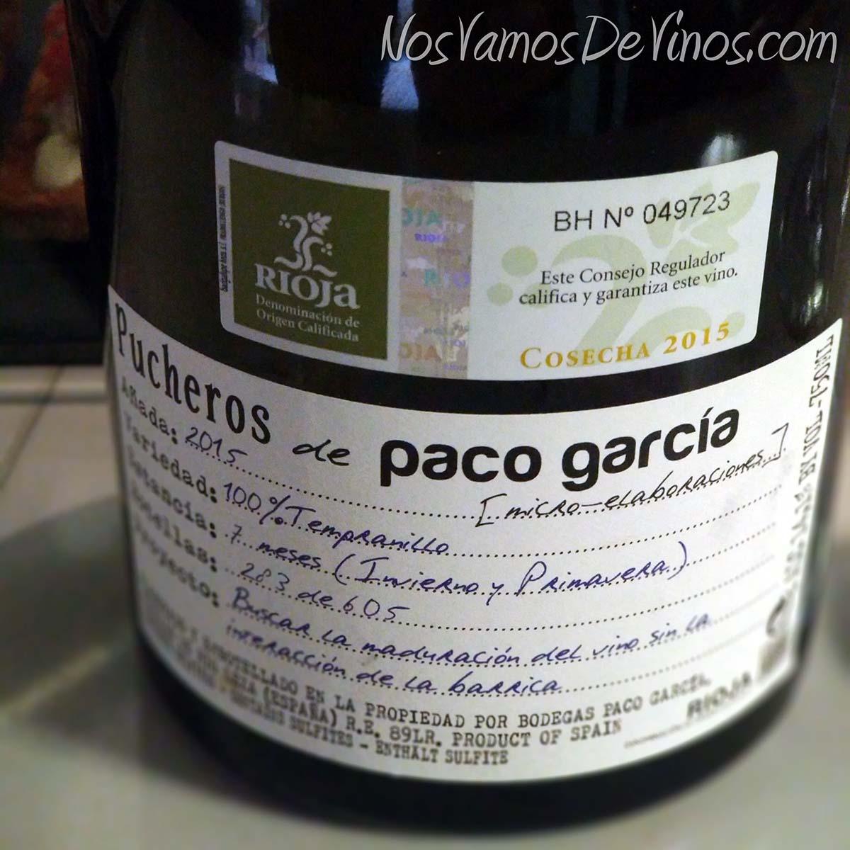 Pucheros de Paco García 2015 Etiqueta Trasera