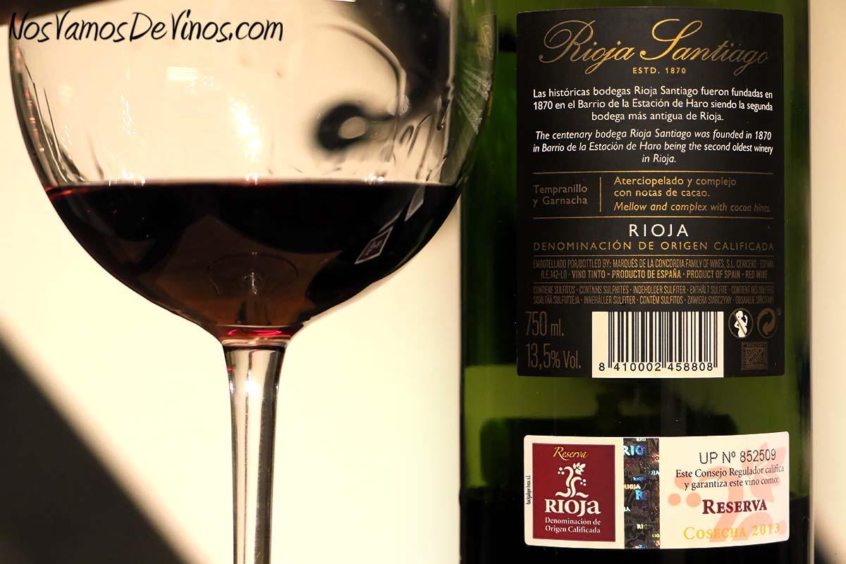 Rioja Santiago Reserva 2013 Etiqueta Trasera