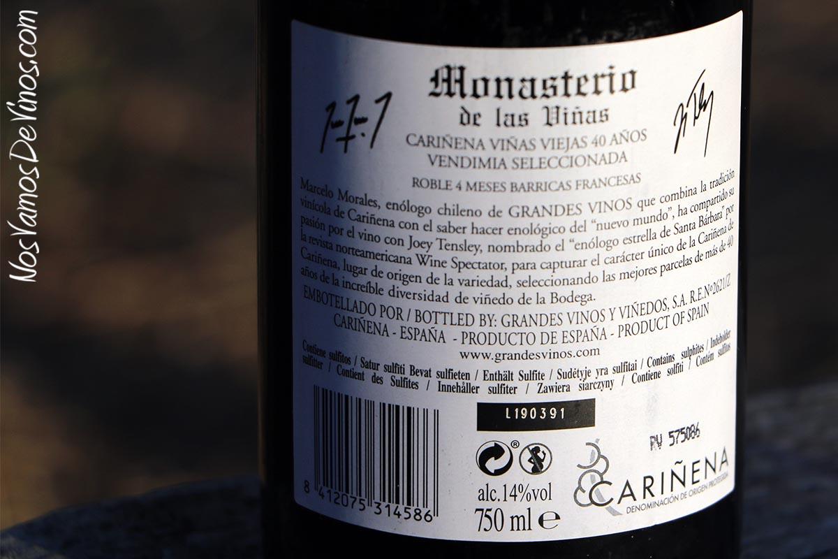 Monasterio de las Viñas Cariñena Viñas Viejas 2016 Etiqueta Trasera