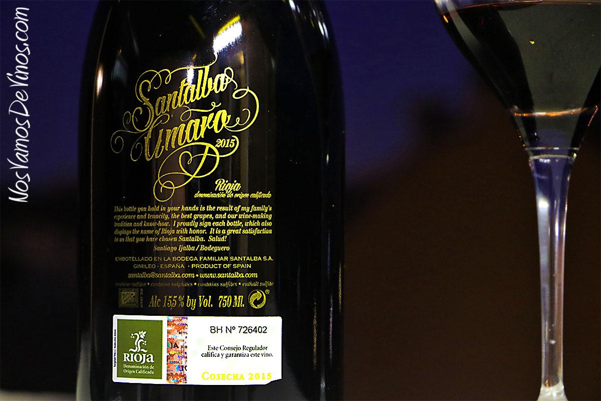 Santalba Amaro 2015 Etiqueta Trasera
