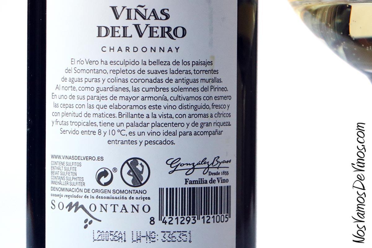 Viñas del Vero Chardonnay 2019. Etiqueta trasera