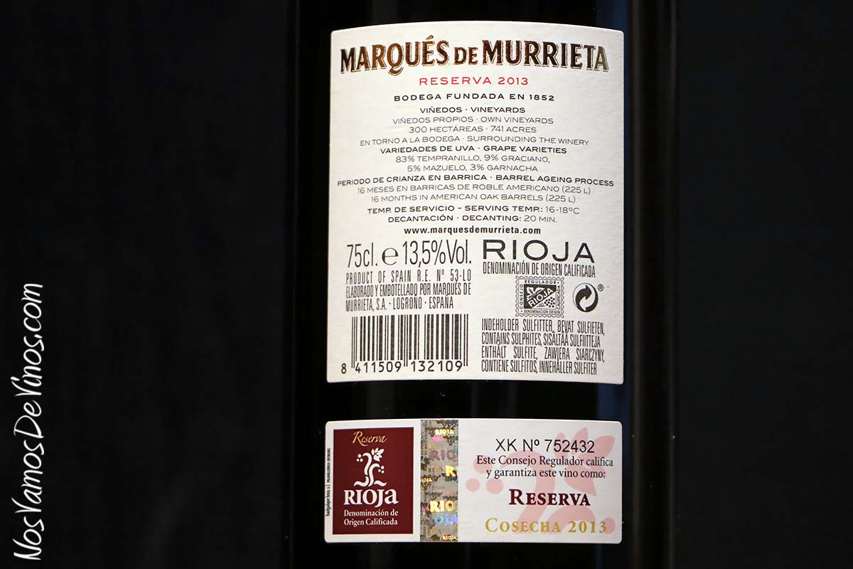 Marqués de Murrieta Reserva 2013 Etiquet trasera
