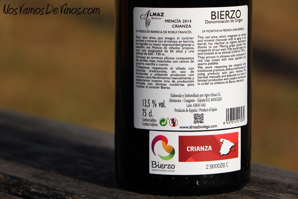 Almaz Montium Mencía 2014 Etiqueta Trasera