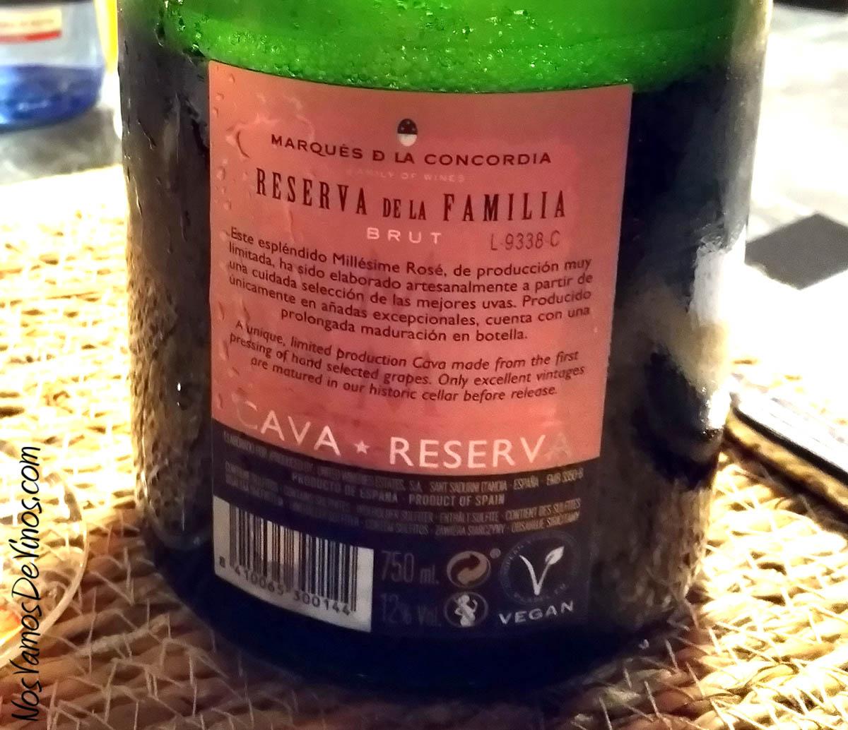 Marqués de la Concordia Reserva de la Familia Brut Rosé 2016 Etiqueta Trasera