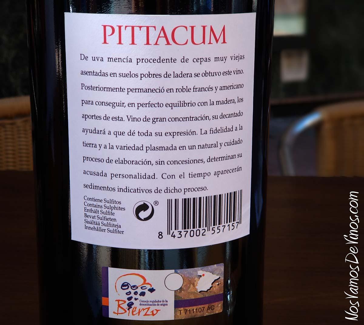 Pittacum 2009 Etiqueta Trasera