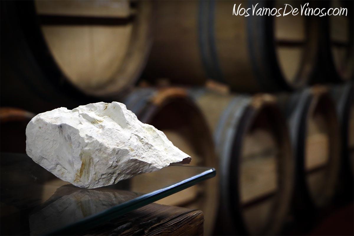 Fragmento de albariza tosca en la Bodega de Forlong.