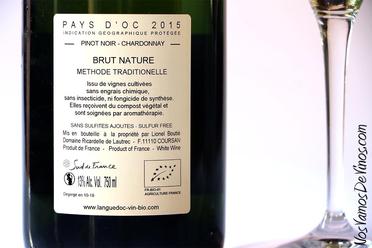 Ricardelle de Lautrec Bulles d'Oc Brut Nature 2015 Etiqueta Trasera