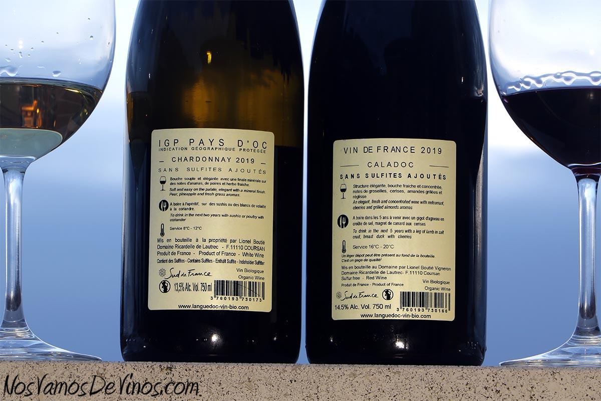 Ricardelle de Lautrec Nature Chardonnay 2019 y Robert 2019 Etiquetas traseras