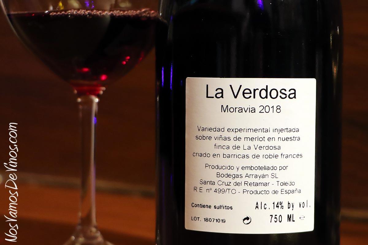 La Verdosa Moravia 2018, etiqueta trasera