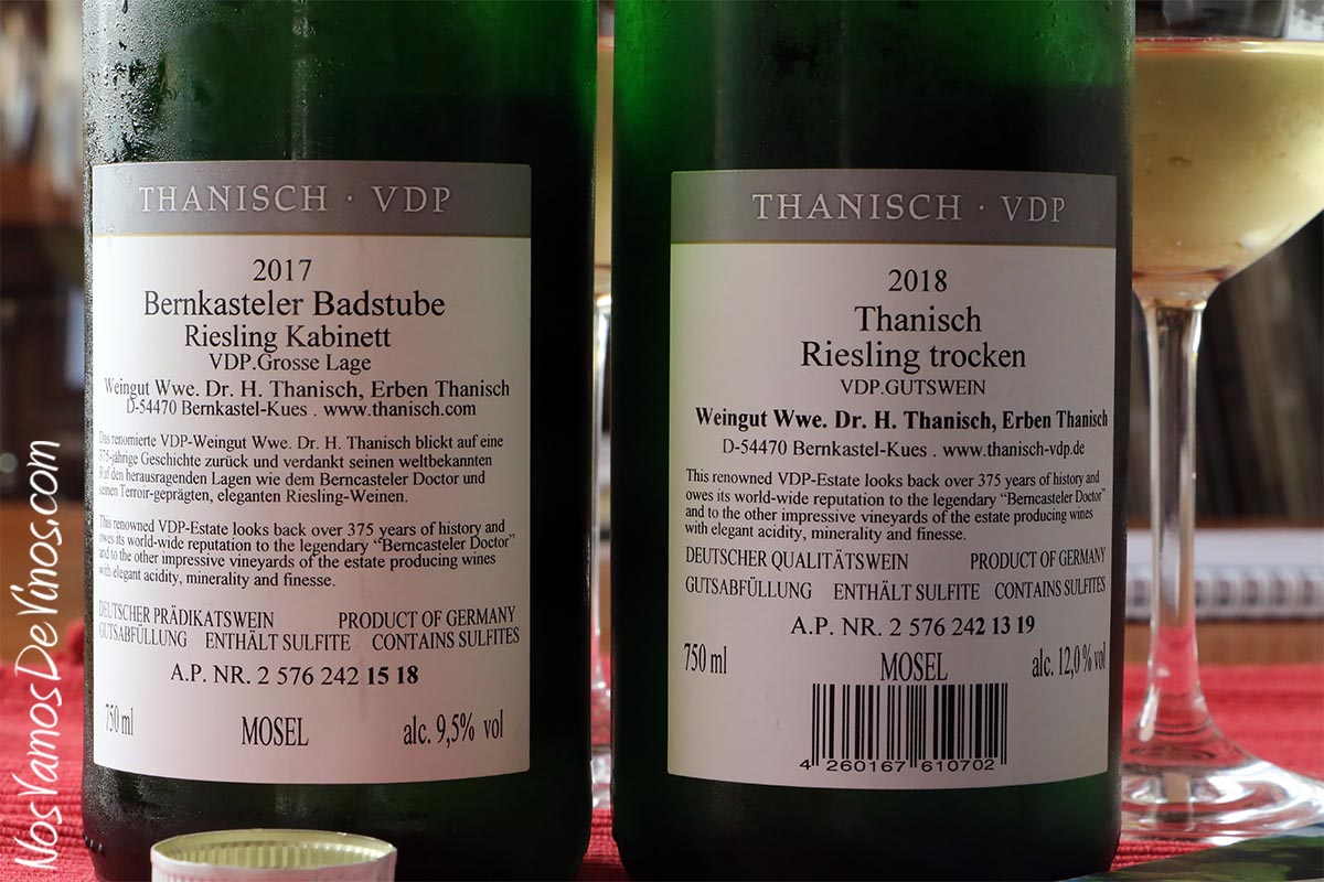Thanisch Riesling Trocken 2018 & Bernkasteler Badstube Riesling Kabinett 2017 Traseras
