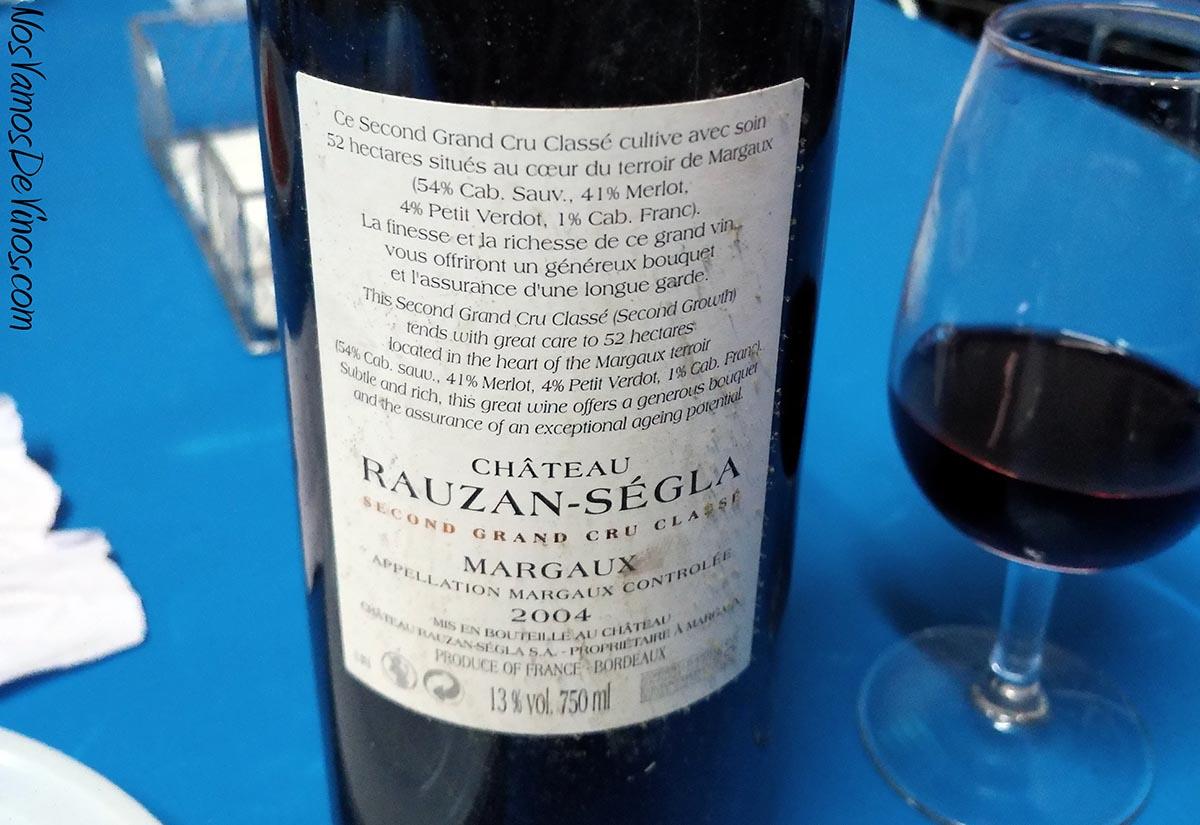Cháteau Rauzan-Ségla Grand Cru Classé Margaux 2004 Etiqueta Trasera