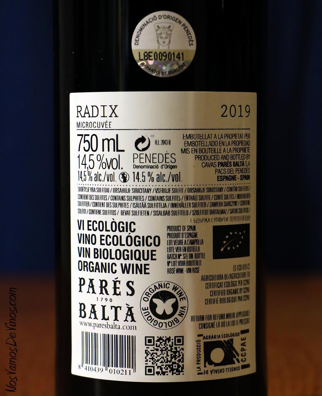 Radix Syrah Rosé 2019 Etiqueta Trasera